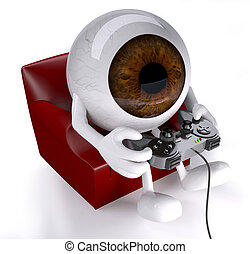 eyeball on armchair with arms, legs and game controller on...