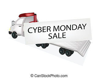 Tractor Trailer Flatbed Loading Cyber Monday Card - A...