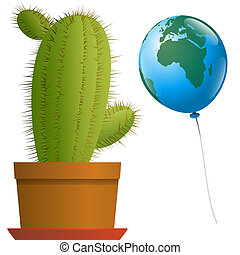 Balloon Africa Europe Cactus - Planet earth as a balloon...