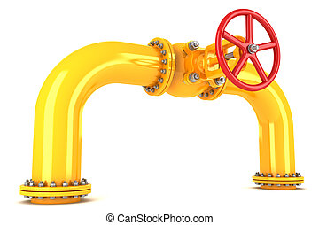 Valve on yellow pipeline isolated on white background