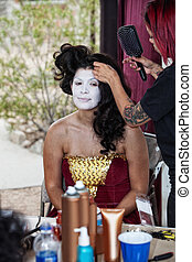 Makeup Artist Working on Cirque Performer - Makeup artist...