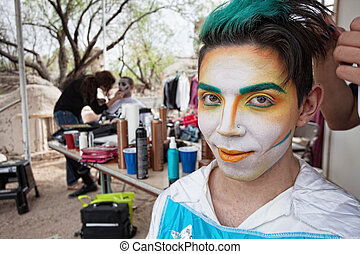 Handsome Male Cirque Actor - Handsome young Hispanic cirque...