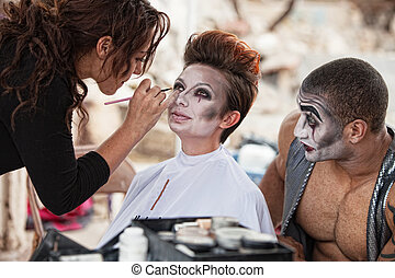 Makeup Artist Working Backstage - Male clown looking at...