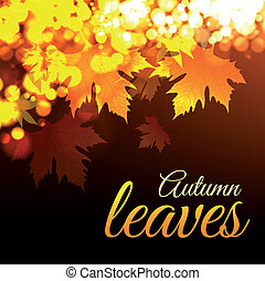 Autumn leaves. Vector illustration with bokeh effect