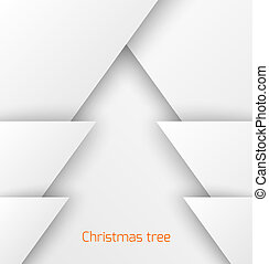 White abstract christmas tree paper applique