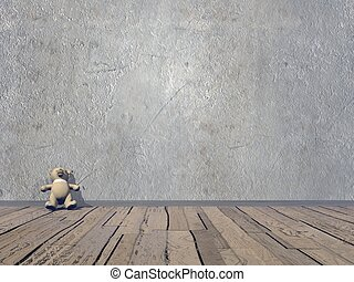Small Teddy bear - 3D render - Small Teddy bear in old room...