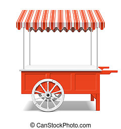 Red farmers market cart illustration