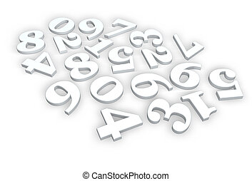 numbers - disorder of numbers on white background - 3d...