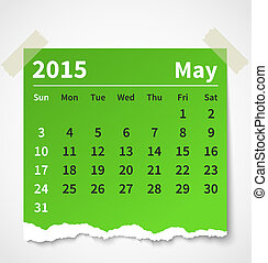 Calendar may 2015 colorful torn paper Vector illustration