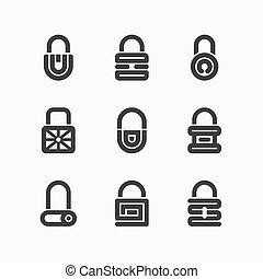Abstract padlock icons