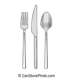 Cutlery set of fork knife and spoon - Cutlery set of fork,...