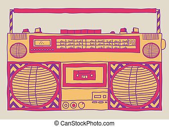 Boombox - Hand drawn sketchy vintage boombox.