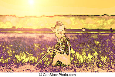 Peasant - Abstract image of peasant in the wheat field