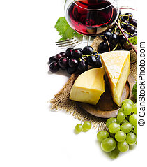 Wine and cheese on white background