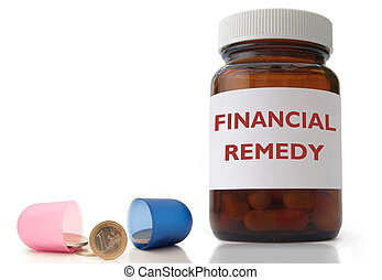 Financial remedy - Open medicine pill with euro coins inside...