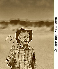Peasant with fork - Old photo of happy senior peasant after...