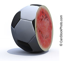 a soccer ball cut inside a watermelon
