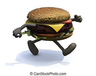 burger with arms and legs that running, 3d illustration