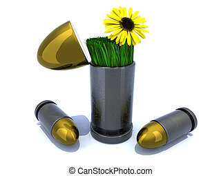 Bullets and flower, war and peace concept 3d illustration