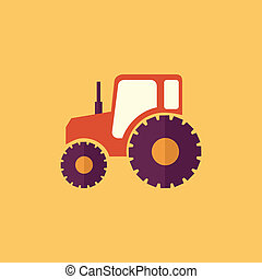 Tractor Transportation Flat Icon Vector Pictogram EPS 10