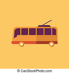 Trolley. Transportation Flat Icon. Vector Pictogram. EPS 10.