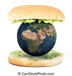 the world inside a sandwich 3d illustration