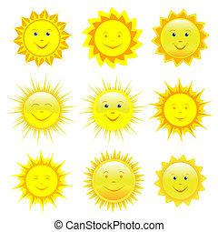 Set of smiling sun over white