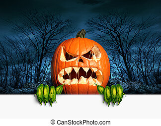 Demon Pumpkin Sign - Demon pumpkin sign as an angry scary...