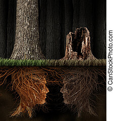 Grief And Grieving concept as two trees with roots shaped as...