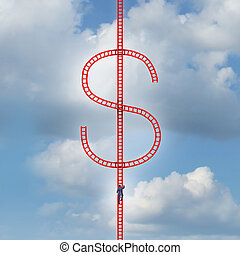 Money Ladder - Money ladder success concept as a risk taker...