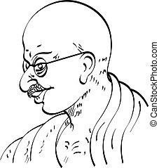 Calligraphic Mahatma Gandhi Ji, Political And Spiritual...