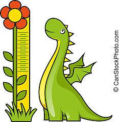 medición, lindo, poco, escala,  dragón, altura
