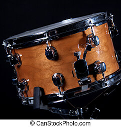 Wood Snare Drum Isolated On Black - A wood snare drum...