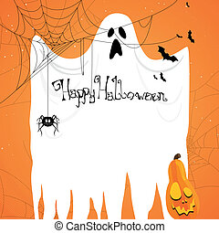 Vector Halloween Background with Ghost - Vector Illustration...