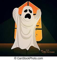 Vector Halloween Background with Ghost
