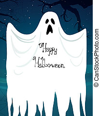 Vector Abstract Halloween Background with Ghost