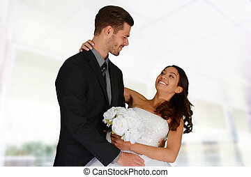 Wedding - Woman in a beautiful white wedding dress with...