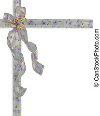 Wedding invitation floral ribbons - Image and illustration...