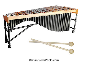 xylophone - The image of a xylophone under a white...