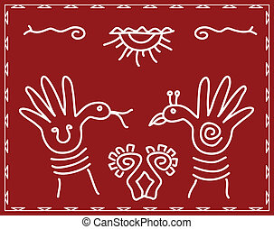 Folk Art Hand As Bird And Snake Vector Art
