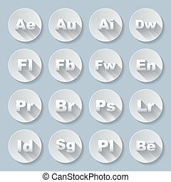 Icons - Set of flat round signs with programs and valuta on...