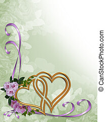 Ślub, zaproszenie, złoty, serca