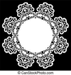 white lace doily - Card with white lace doily on black...