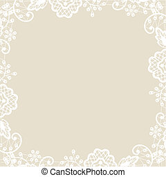 lace on beige background - Wedding invitation or greeting...