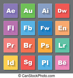 Icons - Set of flat square signs with programs and valuta on...