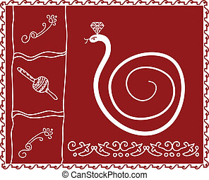 Folk Snake, Tribal Design, Motif, Wall Painting