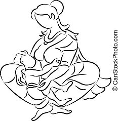 Calligraphic Mother Breast Feeding Her Child Vector Art