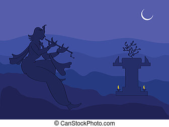 Krishna Playing Flute In Moon Light, Shadow Art Vector Art