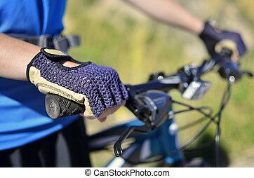 Mountain Biking Wearing Blue Shirt