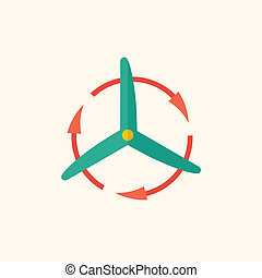 Wind Energy Flat Icon - Wind Energy Ecology Icon Flat Design...
